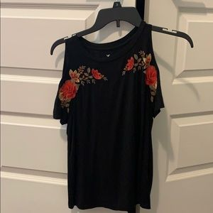 Black blouse with cut out sleeves